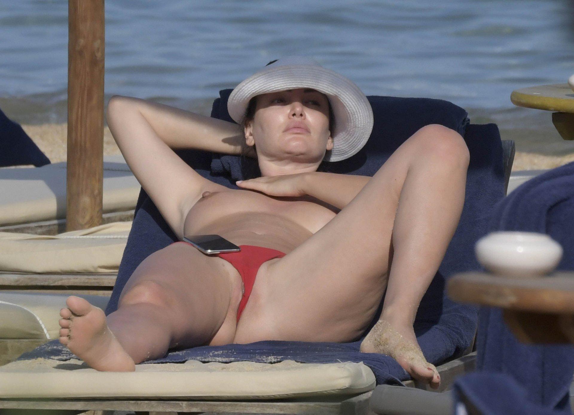 Bleona Qereti Topless on Beach in Italy 14