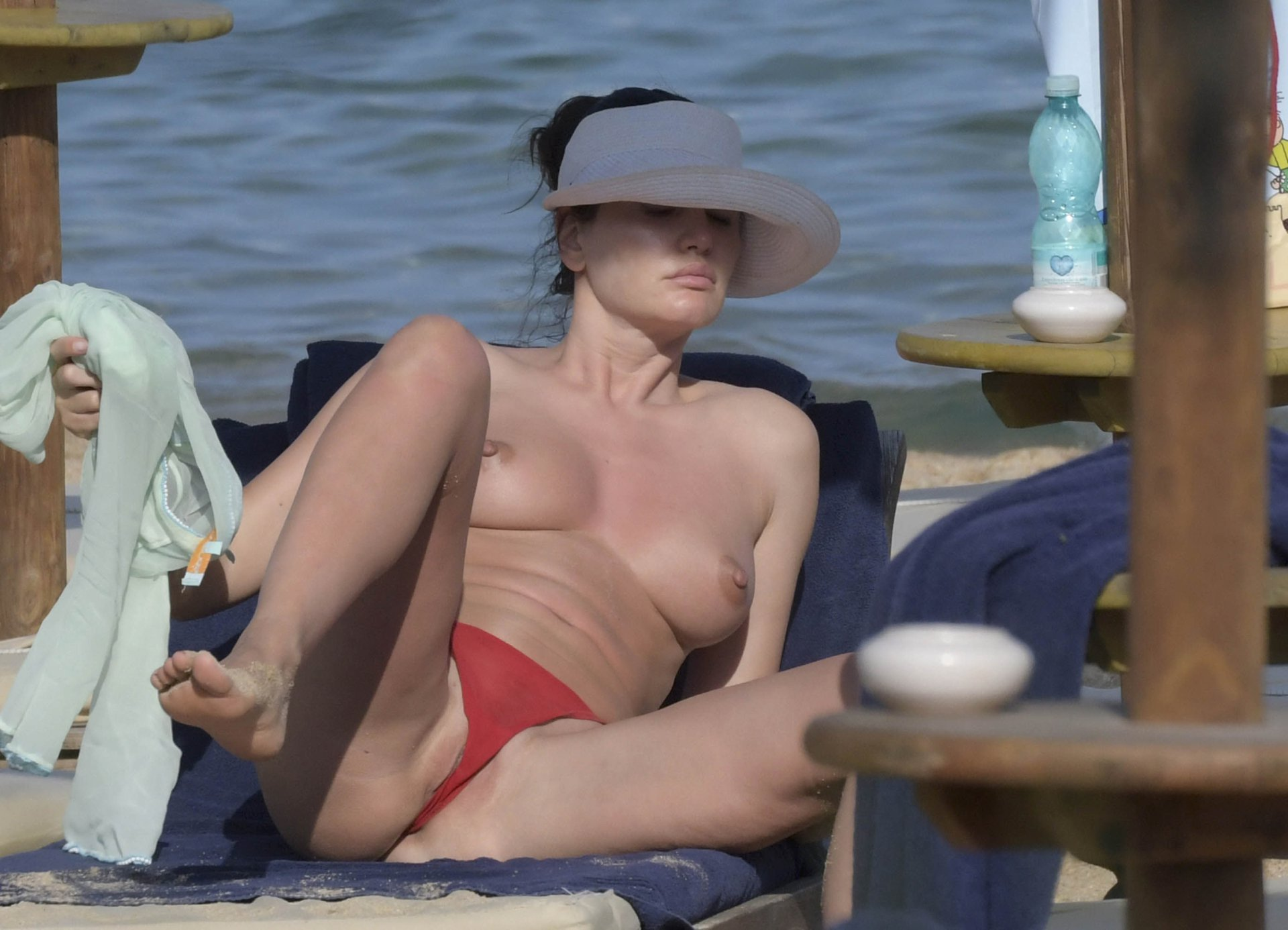 Bleona Qereti Topless on Beach in Italy 15
